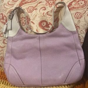 Coach purse/handbag purple & white